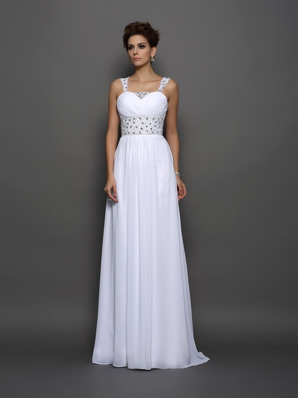 A-Line Chiffon Straps Court Train Beading Wedding Gown
