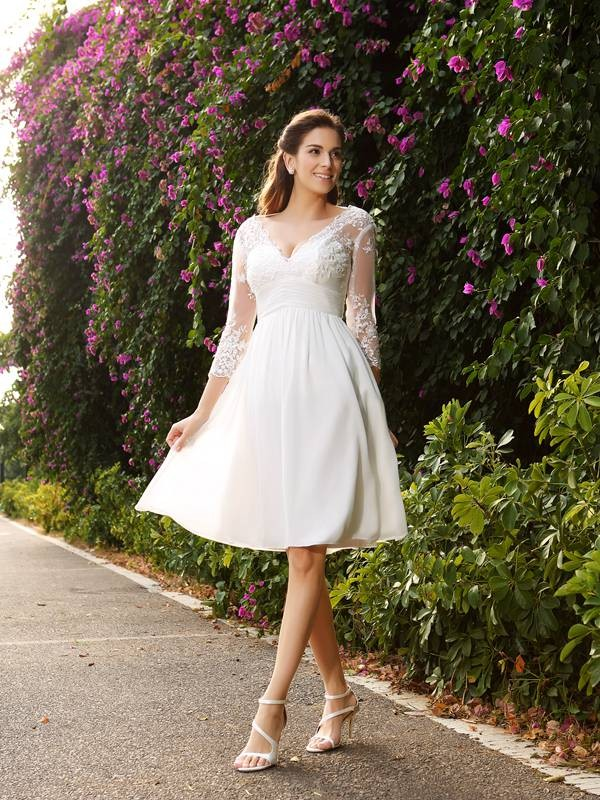 A-Line V-neck Chiffon 3/4 Sleeves Knee-length Lace Wedding Gowns