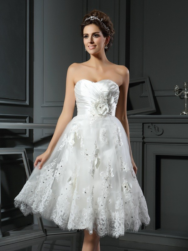 A-Line Sweetheart Satin Tea-Length Ruched Bridal Gown