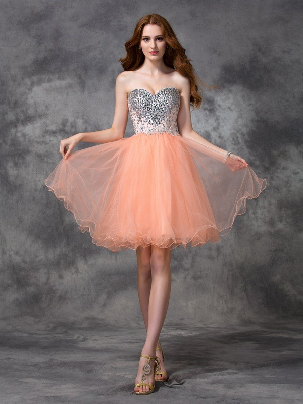 Princess Spaghetti Straps Beading Short Net Homecoming Gown