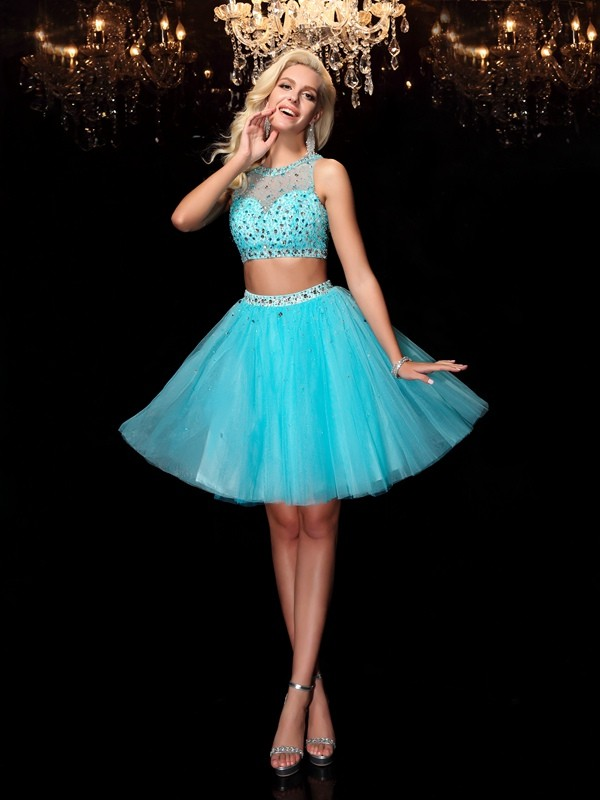 A-Line/Princess Scoop Rhinestone Short Net Dress