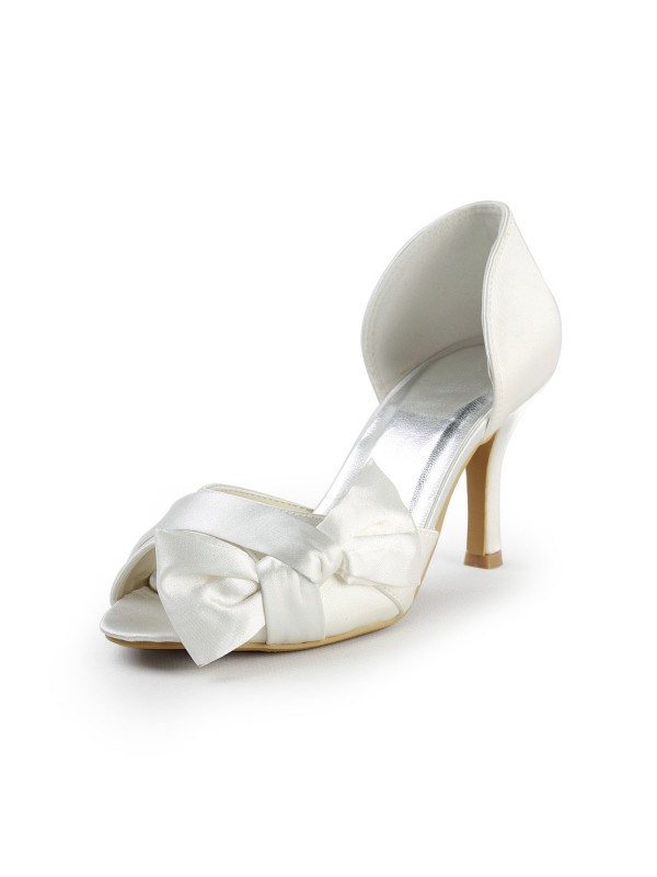 Beautiful Satin Stiletto Heel Peep Toe With Bowknot Party/Evening Shoes