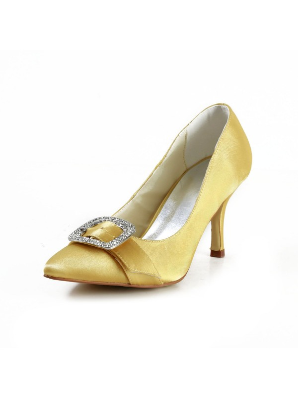 Charming Satin Stiletto Heel Closed Toe With Rhinestone Shoes