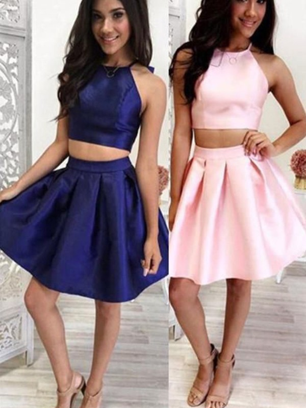 A-Line/Princess Satin Ruffles Halter Sleeveless Short/Mini Two Piece Dress