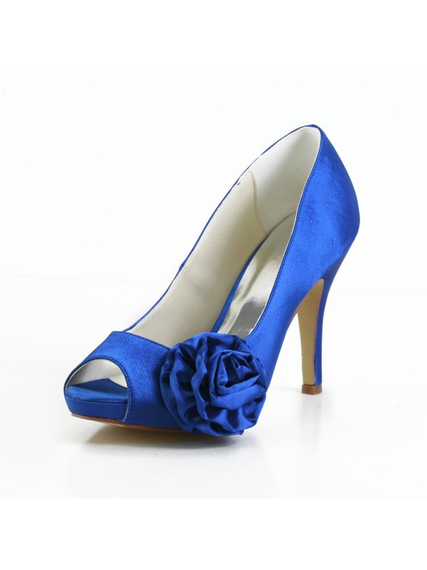 Women's Elegant Satin Peep Toe Stiletto Heel Pumps With Flower Wedding Shoes