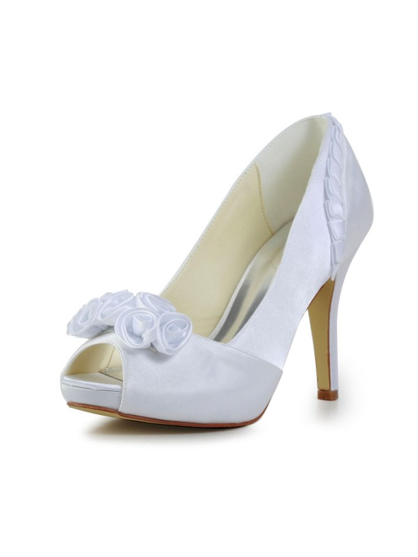 Women's Fabulous Satin Stiletto Heel Pumps With Flower Wedding Shoes