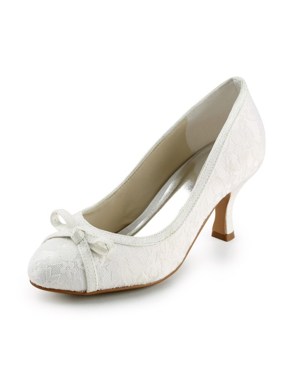 Lace Satin Spool Heel Closed Toe Pumps Wedding Shoes With Bowknot