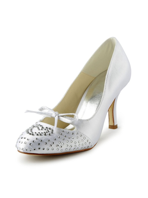 Lovely Satin Stiletto Heel Peep Toe With Rhinestone Wedding Shoes