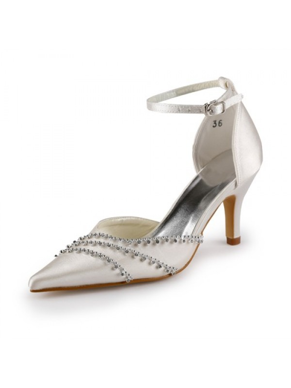 Nice Satin Stiletto Heel Closed Toe Pumps Wedding Shoes With Buckle Rhinestone