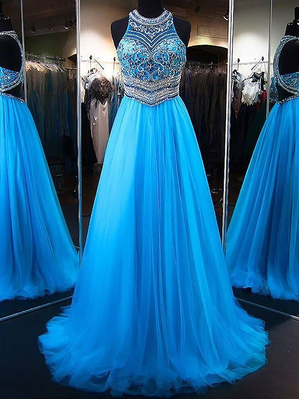 A-Line/Princess Jewel Sleeveless Sweep/Brush Train Beading Tulle Prom Gowns