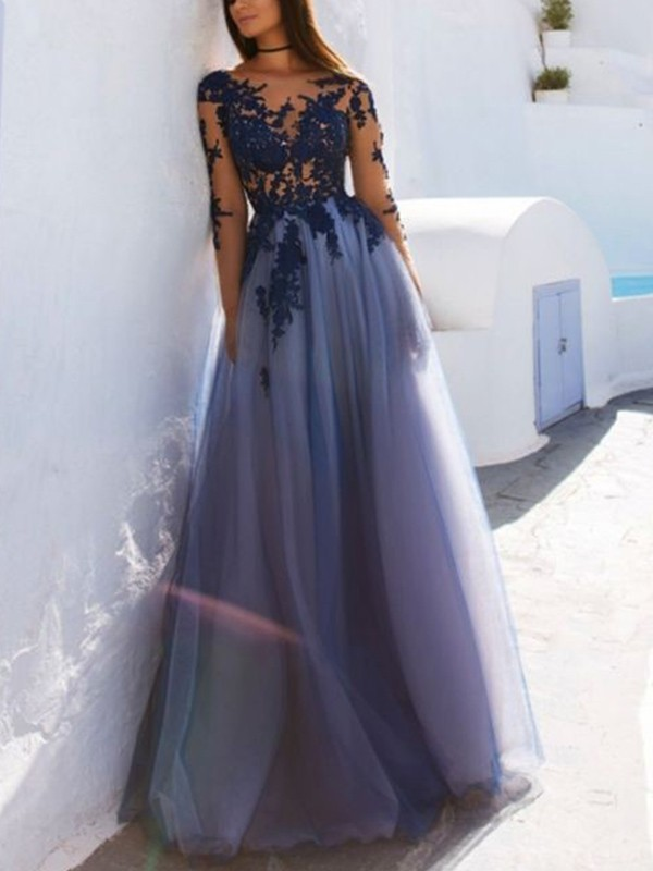 A-Line Scoop Floor-Length With Applique Tulle Dress