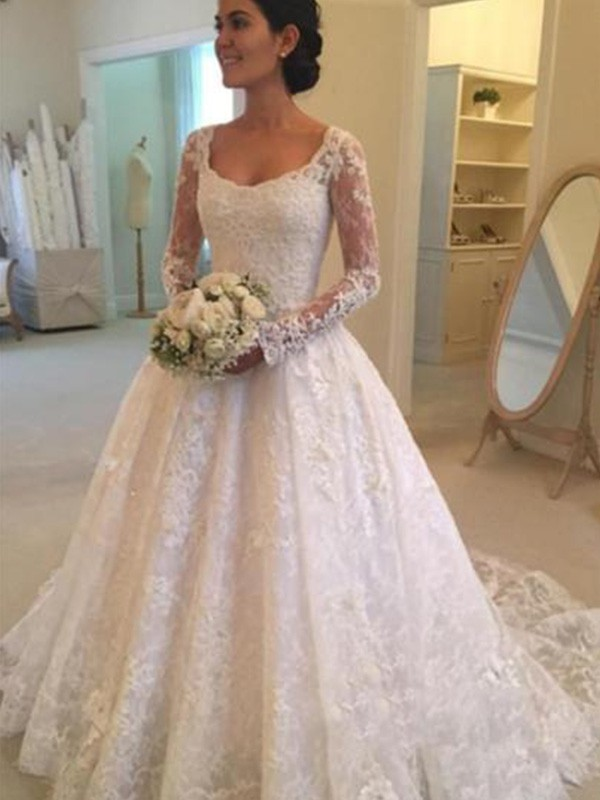 Ball Gown Long Sleeves Cathedral Train Scoop Ruffles Lace Wedding Dresses