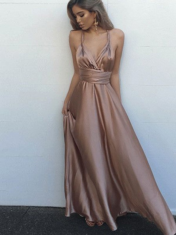 A-Line Sleeveless Spaghetti Straps Silk like Satin Floor-Length Sash/Ribbon/Belt Prom Gown