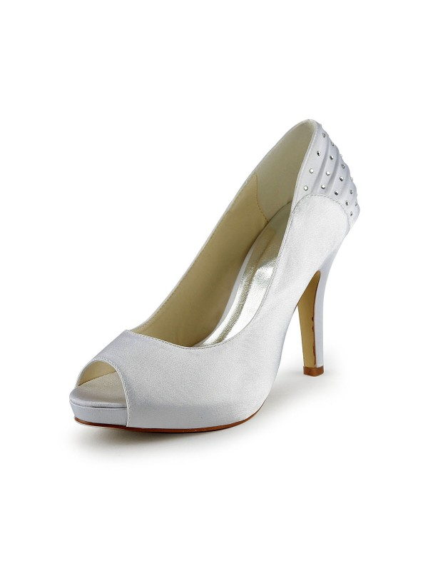 Pretty Satin Stiletto Heel Peep Toe With Rhinestone Ruched Wedding Shoes