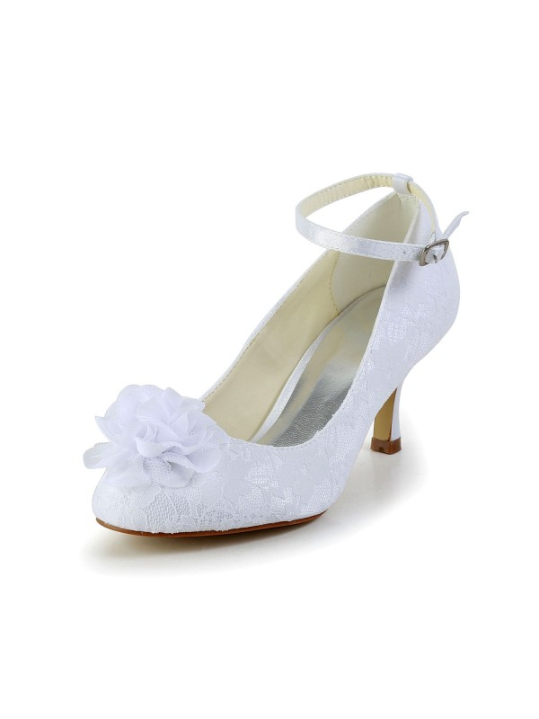 Satin Closed Toe Shoes With Flower Buckle
