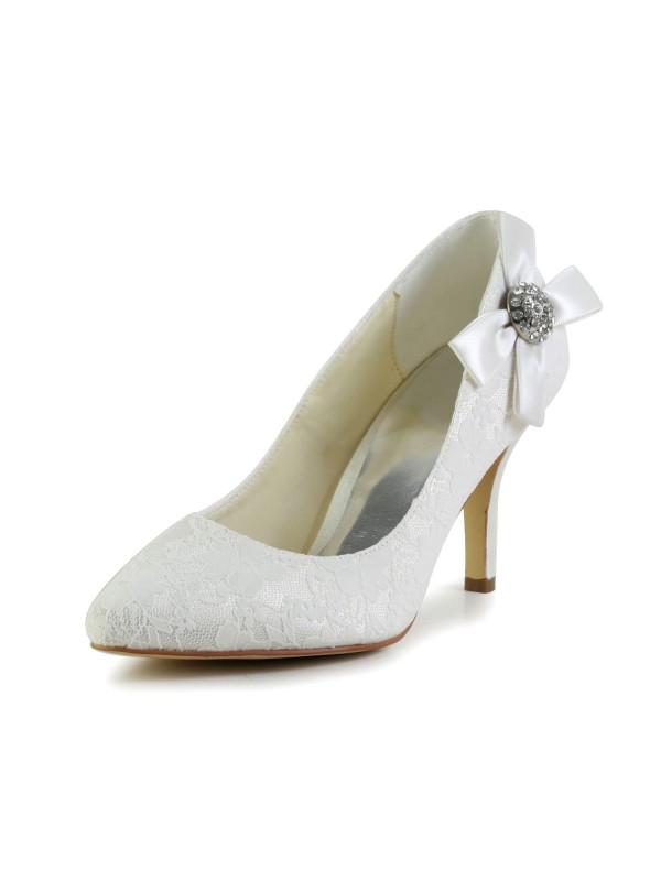 Women's Satin Stiletto Heel Closed Toe Pumps Wedding Shoes With Rhinestone