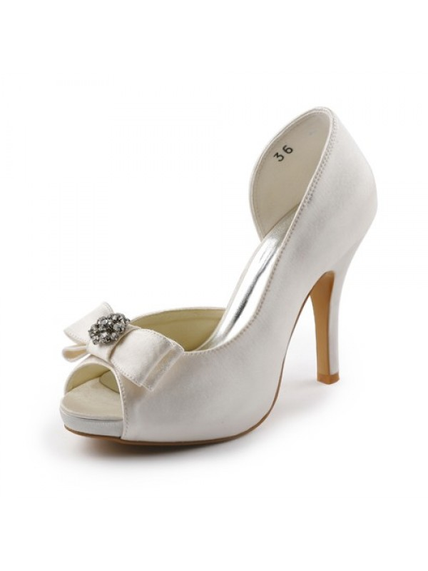 Satin Cone Heel Peep Toe Platform Sandals Wedding Shoes With Bowknot Rhinestone