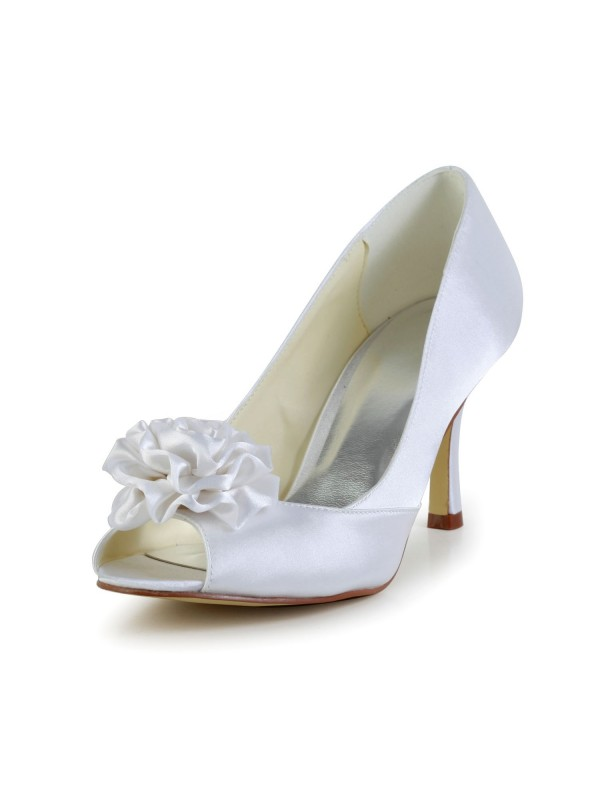 Women's Satin Stiletto Heel Peep Toe Wedding Shoes With Flower