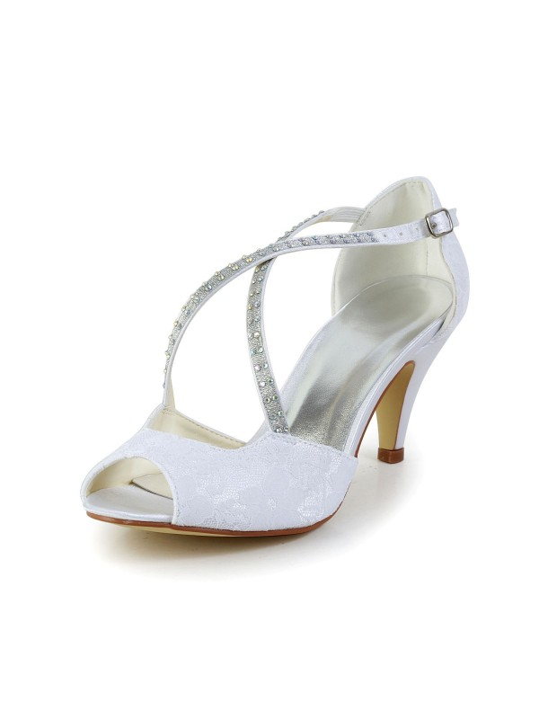 Women's Satin Cone Heel Peep Toe Sandals Wedding Shoes With Rhinestone Buckle