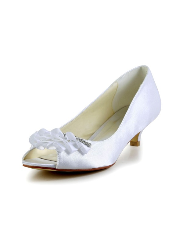 Satin Low Heel Peep Toe Pumps Sandals Wedding Shoes With Rhinestone Ruched