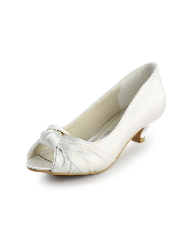 Satin Low Heel Peep Toe Sandals Wedding Shoes With Bowknot