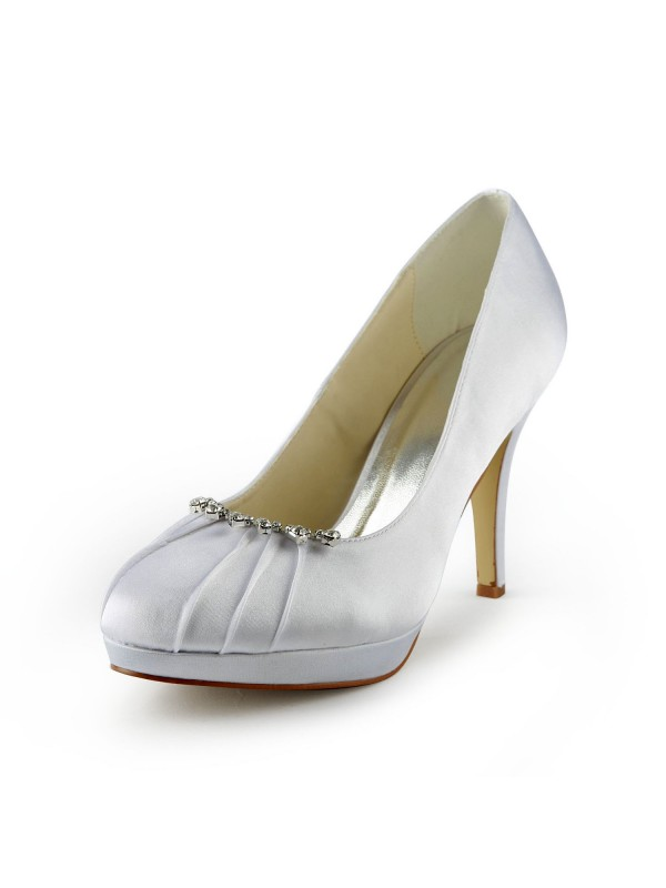 Satin Stiletto Heel Closed Toe Platform Pumps Wedding Shoes With Rhinestone