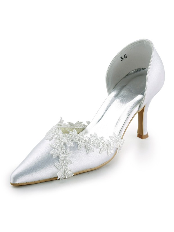 Women's Satin Stiletto Heel Closed Toe Pumps Wedding Shoes With Lace