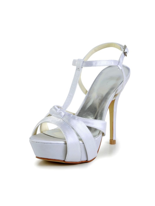 Satin Stiletto Heel Peep Toe Platform Slingbacks Pumps Sandals Wedding Shoes With Buckle