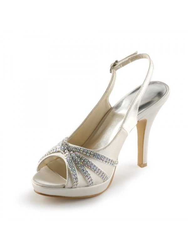 Satin Stiletto Heel Peep Toe Platform With Rhinestone Wedding/Party Evening Shoes
