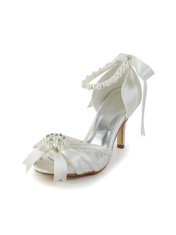 Women's Satin Stiletto Heel Sandals Dance Shoes With Pearl