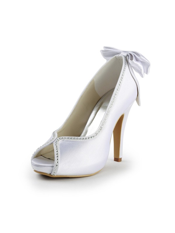 Satin Upper Stiletto Heel Peep Toe with Bowknot Wedding Shoes