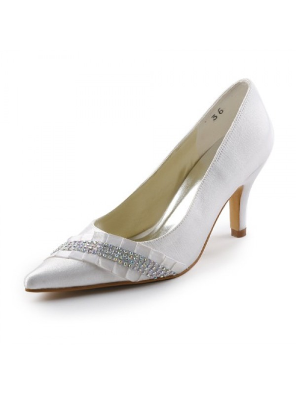 Satin Upper Stiletto Heel Pointed toe Pumps with Rhinestone Wedding Shoes