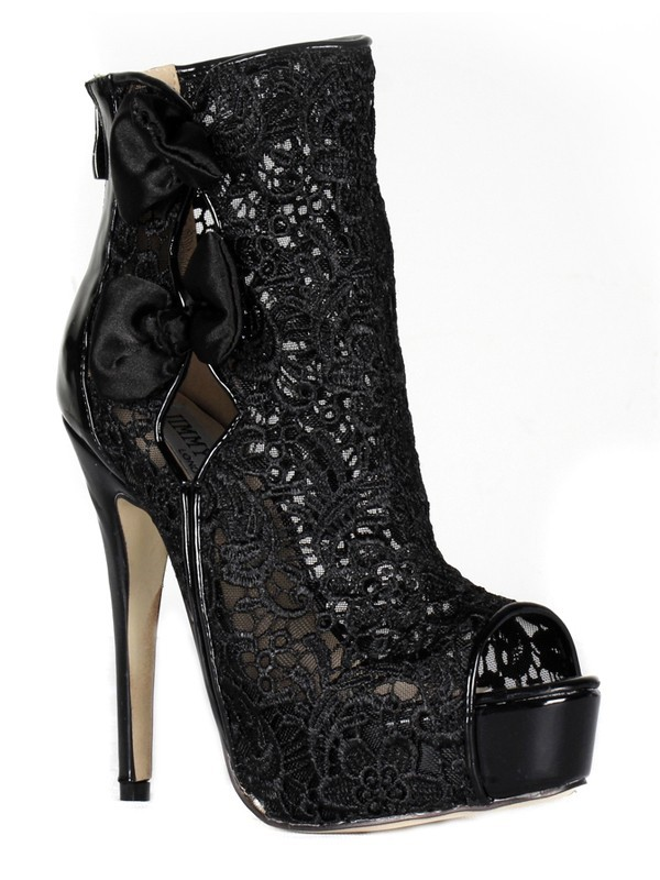 Women's Lace Stiletto Heel Peep Toe Platform With Lace Bootie