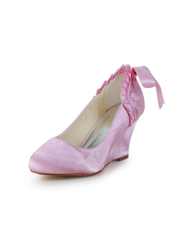 Women's Unique Satin Wedge Heel Closed Toe Wedding Shoes