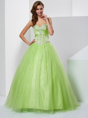 Ball Gown Sweetheart Beading Floor Length Tulle Evening Gown