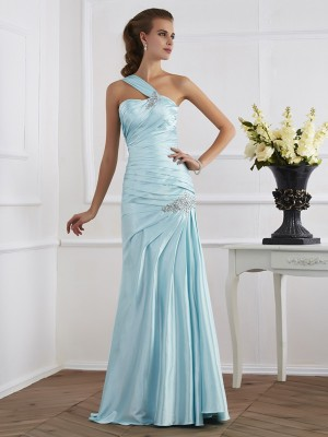 Mermaid One Shoulder ruched Floor Length Elastic Woven Evening Gown