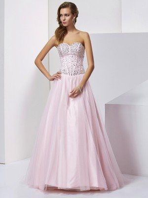 Ball Gown Beading Sweetheart Floor Length Satin Evening Gown