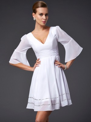 A Line Princess V-Neck Beading Sleeves Mini Chiffon Dress