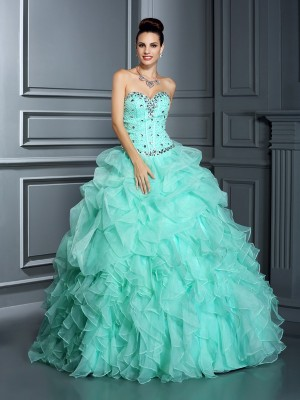 Ball Gown Beading Sweetheart Floor-Length Organza Quinceanera Dresses