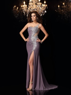 Mermaid Chiffon One-Shoulder Rhinestone Sweep/Brush Train Evening Gown