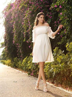 A-Line Off-the-Shoulder Chiffon 1/2 Sleeves Knee-Length Bridal Gown