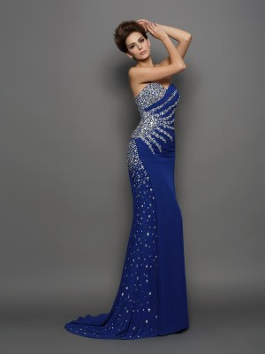 Mermaid Sweetheart Chiffon Rhinestone Court Train Amazing Dress