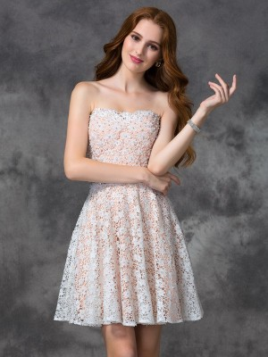 Princess Sweetheart Lace Short Homecoming Gown