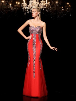 Sheath Sweetheart Rhinestone Floor-Length Net Perfect Dresses