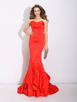 Trumpet Sweetheart Layers Court Train Satin Elegant Dress