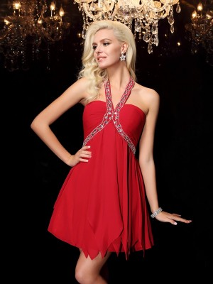 Princess Halter Beading Short Chiffon Beautiful Dresses