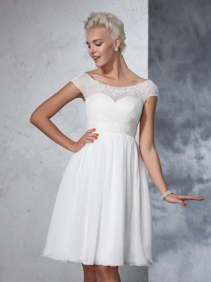 Princess Short Sleeves Sheer Neck Chiffon Knee-Length Ruched Bride Gown