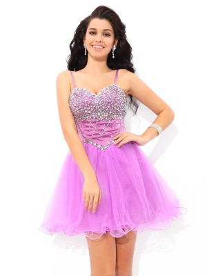 Princess Spaghetti Straps Paillette Short Net Homecoming Gown