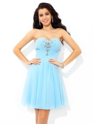 Princess Sweetheart Beading Short Chiffon Homecoming Gown