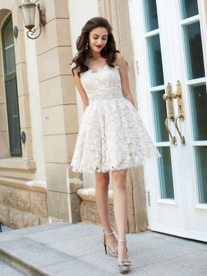 A-line Sweetheart Sleeveless Rhinestone Short/Mini Lace Homecoming Gown